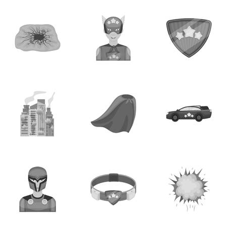 Superhero, explosion, fire, and other web icon in monochrome style.Pistol, weapons, innovations, icons in set collection. Ilustração