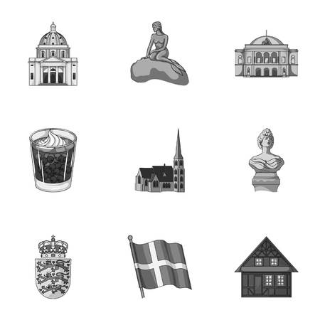 Kopeck, money, crown, and other web icon in monochrome style.Attributes,country, Denmark icons in set collection.
