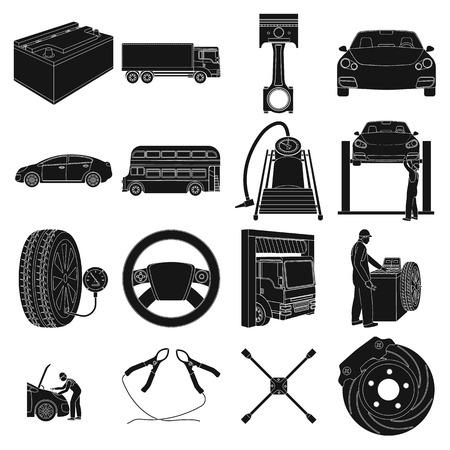 Voiture, ascenseur, pompe et autres icônes d'équipement noir dans la collection de jeu pour la conception. Station de maintenance de voiture vecteur symbole stock illustration web. Vecteurs