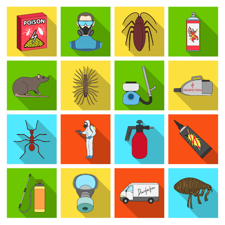 Pest, poison, personnel and various equipment flat icons in set collection for design. Pest control service vector symbol stock web illustration. Vettoriali