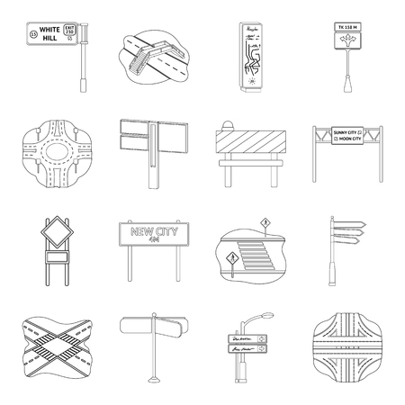 Road junctions and signs and other web icon in outline style.Pedestrian crossings and signs icons in set collection.
