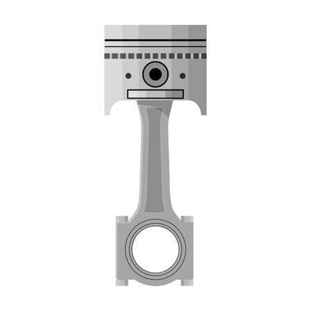 Varilla de conexión con el solo icono del pistón en el estilo monocromático para el diseño. Web del ejemplo de la acción del símbolo del vector de la estación de mantenimiento del coche. Ilustración de vector