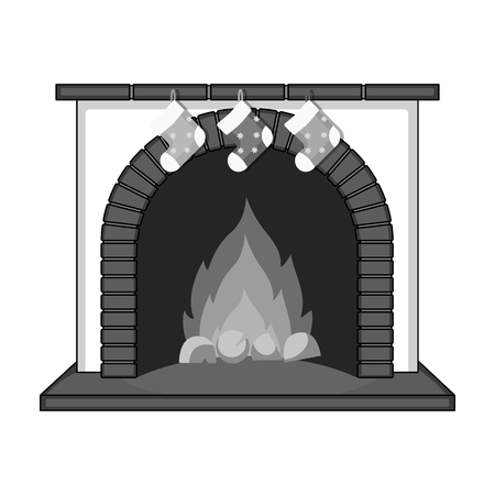 Christmas presents on the fireplace single icon in monochrome style for design. Christmas vector symbol stock illustration web.