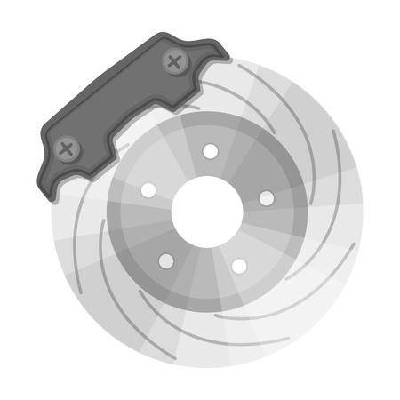 Brake disk single icon in monochrome style for design.Car maintenance station vector symbol stock illustration web. Illustration