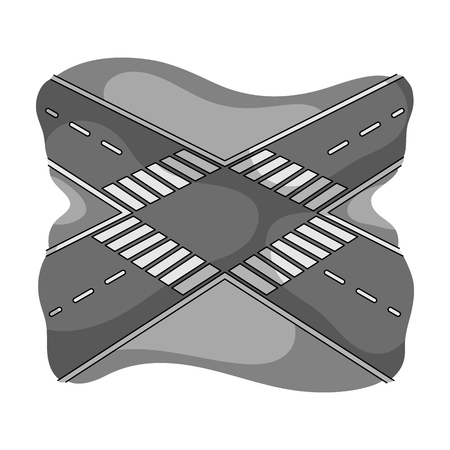 Intersection single icon in monochrome style.Intersection vector symbol stock illustration web. Stock Illustratie