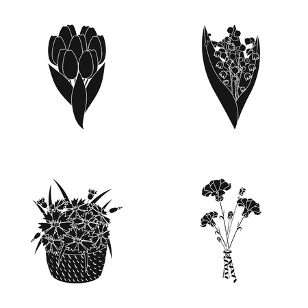 A bouquet of fresh flowers black icons in set collection for design. Various bouquets vector symbol stock web illustration. Illustration
