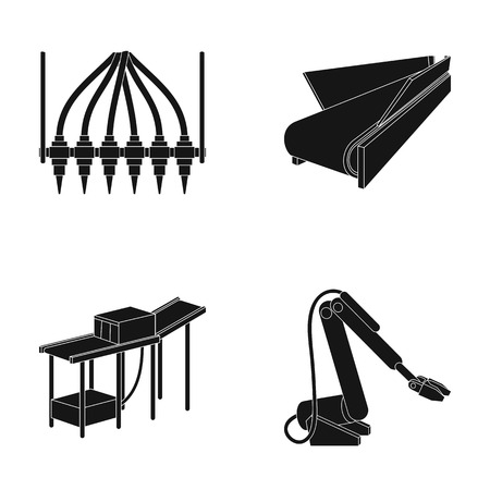 Modern equipment and other web icon in black style.Machine tools and equipment factory icons in set collection. Illustration