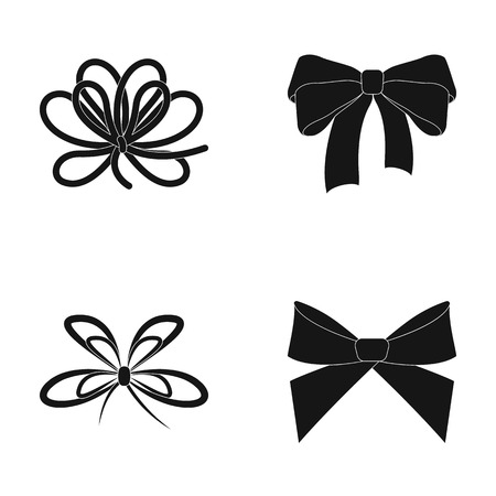 Bow, ribbon, decoration, and other web icon in black style. Gift, bows, node, icons in set collection. Vettoriali