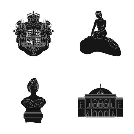 National, symbol, drawing, and other web icon in black style. Denmark, attributes, style, icons in set collection. Illustration