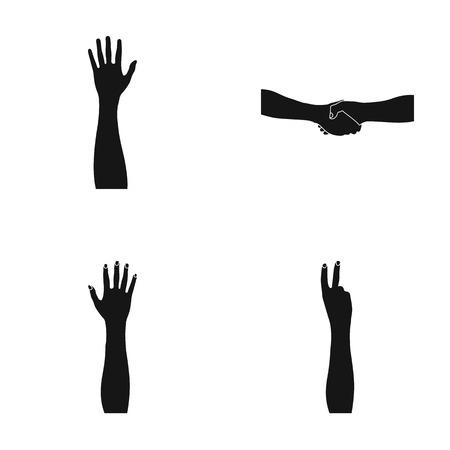 Sign Language black icons in set collection for design.Emotional part of communication vector symbol stock web illustration.