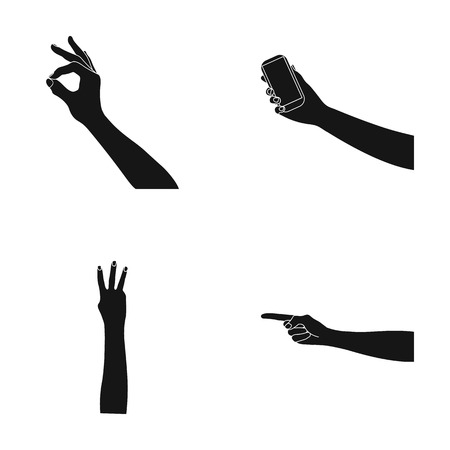 Sign Language black icons in set collection for design.Emotional part of communication vector symbol stock web illustration.