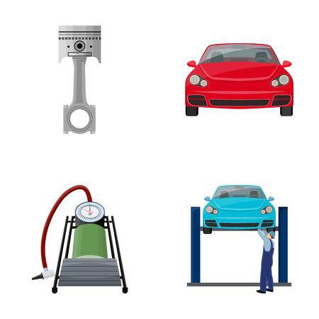Car on lift, piston and pump cartoon icons in set collection for design.Car maintenance station vector symbol stock illustration web. Illustration