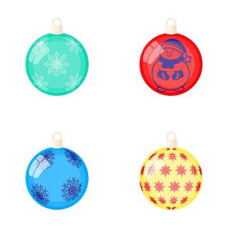 New Years Toys cartoon icons in set collection for design.Christmas balls for a treevector symbol stock web illustration.