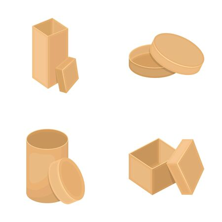 Box, container, package, and other web icon in cartoon style.Case, shell, framework, icons in set collection. Illustration