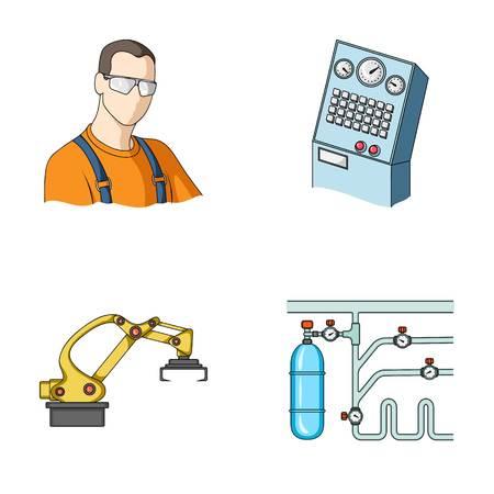 Moderne Ausrüstung und andere Netzikone in der Karikaturart Maschinenwerkzeug- und Ausrüstungsfabrikikonen in der Satzsammlung. Illustration
