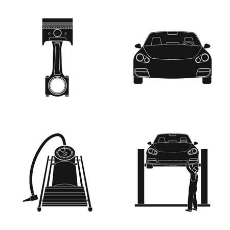 Coche en iconos negros de la elevación, del pistón y de la bomba en la colección determinada para el diseño. Web del ejemplo de la acción del símbolo del vector de la estación de mantenimiento del coche.