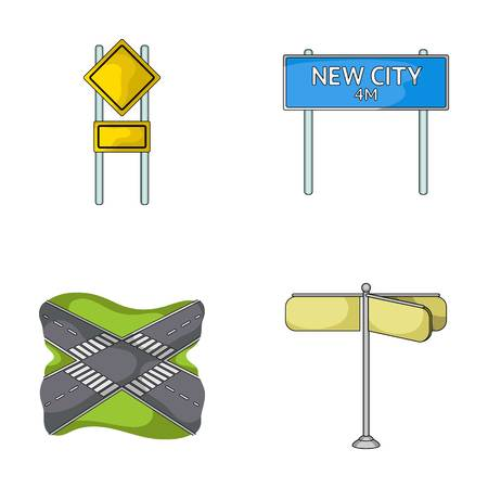Road signs and other web icon in cartoon style.Road junctions icons in set collection.