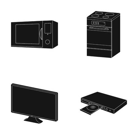 Home appliances and equipment black icons in set collection for design.Modern household appliances vector symbol stock web illustration. Stock Illustratie