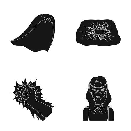 Cloak, red, clothes, and other web icon in black style. Super, strength, girl, icons in set collection.
