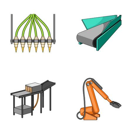 Modern equipment and other web icon in cartoon style.Machine tools and equipment factory icons in set collection.
