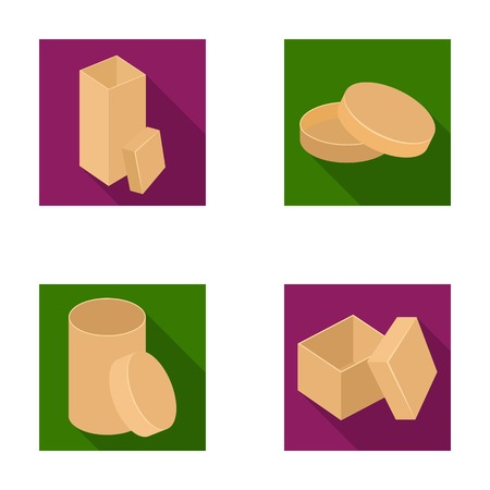 Box, container, package, and other web icon in flat style.Case, shell, framework, icons in set collection.