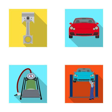 Car on lift, piston and pump flat icons in set collection for design.Car maintenance station vector symbol stock illustration web. Illustration