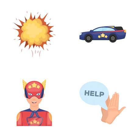 Explosion, fire, smoke and other web icon in cartoon style.Superhero, superforce, cry, icons in set collection.