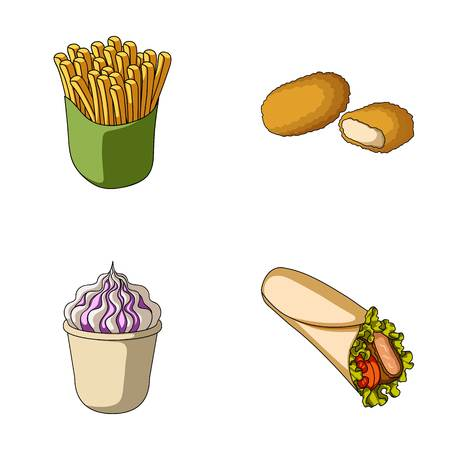 Food, refreshments, snacks and other web icon in cartoon style.Packaging, paper, potatoes icons in set collection.