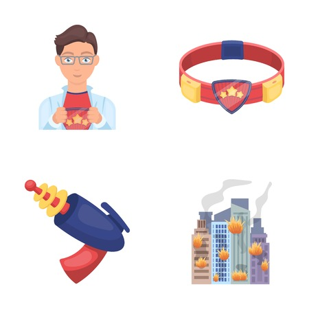 Man, young, glasses, and other web icon in cartoon style. Superhero, belt, gun icons in set collection. Illustration