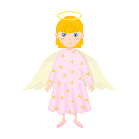 Guardian angel single icon in cartoon style for design. Christmas vector symbol stock illustration web.