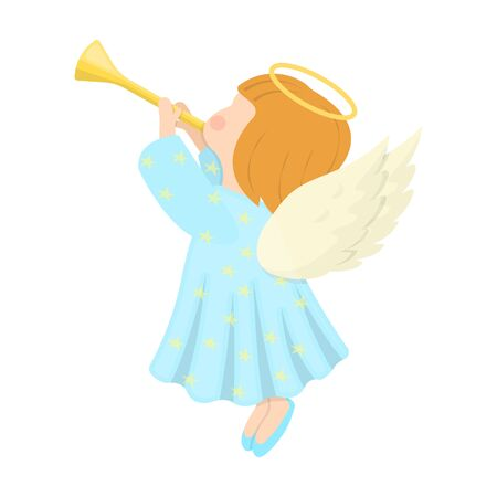 Angel with a pipe single icon in cartoon style for design.Christmas vector symbol stock illustration web.