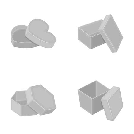 Box, container, package, and other web icon in monochrome style.Case, shell, framework, icons in set collection.