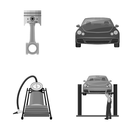 Car on lift, piston and pump monochrome icons in set collection for design.Car maintenance station vector symbol stock illustration web.