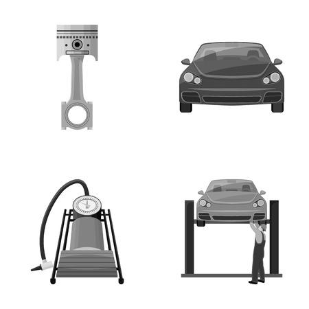 Voiture sur ascenseur, piston et pompe monochrome icônes dans la collection de jeu pour la conception. Station d'entretien de voiture vecteur symbole stock illustration web.