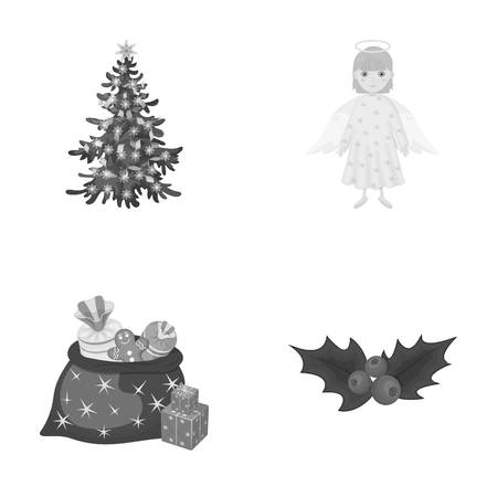 Christmas tree, angel, gifts and holly monochrome icons in set collection for design. Christmas vector symbol stock web illustration. Illustration