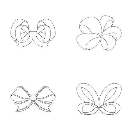 Ornamentals, frippery, finery and other web icon in outline style.Bow, ribbon, decoration, icons in set collection.