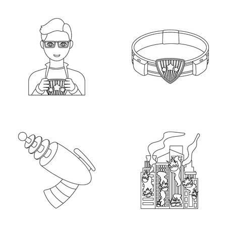 Man, young, glasses, and other web icon in outline style. Superhero, belt, gun icons in set collection.