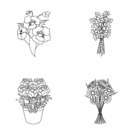 A bouquet of fresh flowers outline icons in set collection for design. Various bouquets vector symbol stock web illustration.