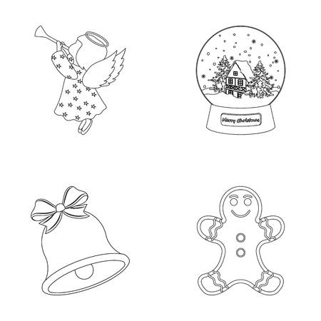 Angel, glass bowl, gingerbread and bell outline icons in set collection for design. Christmas vector symbol stock web illustration.
