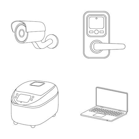 Home appliances and equipment outline icons in set collection for design.Modern household appliances vector symbol stock web illustration.