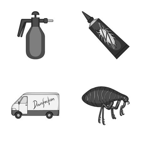 Flea, special car and equipment monochrome icons in set collection for design. Pest Control Service vector symbol stock web illustration.