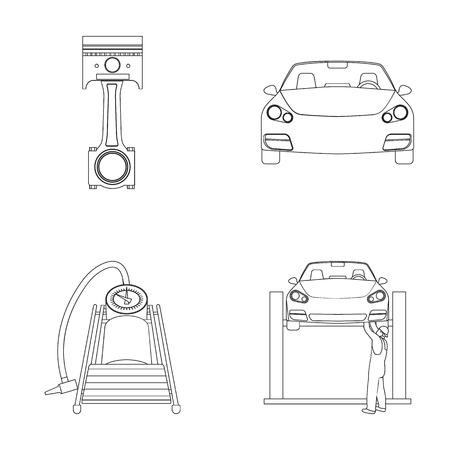 Coche en elevación, pistón y iconos de contorno de la bomba en la colección de conjunto para el diseño. Web de mantenimiento de stock de símbolo de vector de estación de servicio. Ilustración de vector