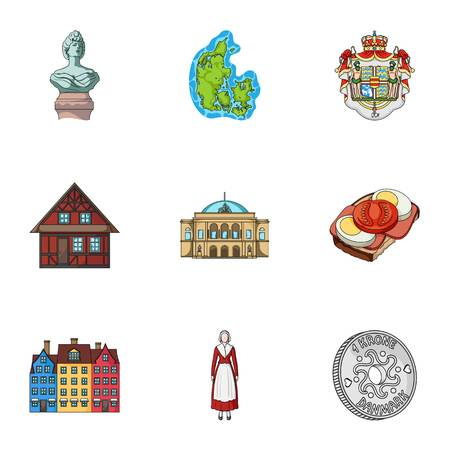 Building, national, style and other web icon in cartoon style.Denmark, sea, history, attributes icons in set collection. Illusztráció