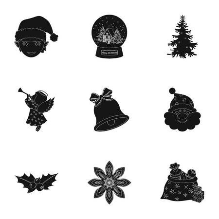 Christmas attributes and accessories black icons in set collection for design. Merry Christmas vector symbol stock web illustration. Vectores