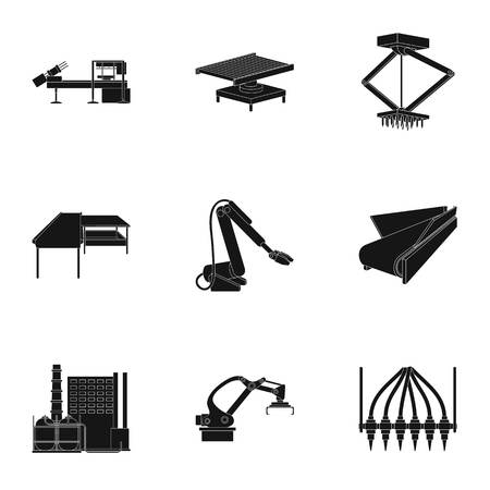 Factory equipment and machines and other web icon in black style.New production technologies icons in set collection.