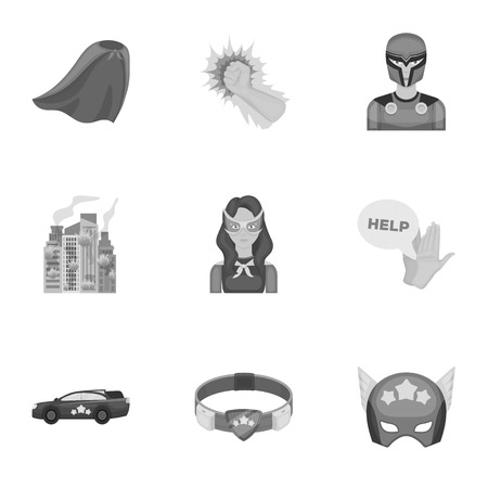 Shield, protection, superhero, and other web icon in monochrome style.Opportunities, assistance, rescue icons in set collection. Ilustração