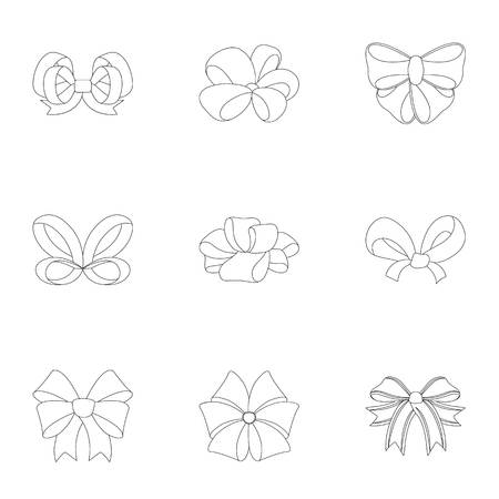 Decor, bows, node, and other web icon in outline style.Bow, ribbon, decoration, icons in set collection.
