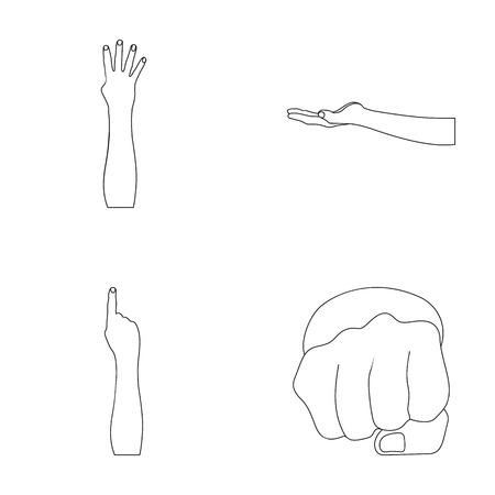 Sign Language outline icons in set collection for design.Emotional part of communication vector symbol stock web illustration. Illustration