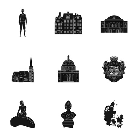Building, national, style and other web icon in black style.Denmark, sea, history, attributes icons in set collection.