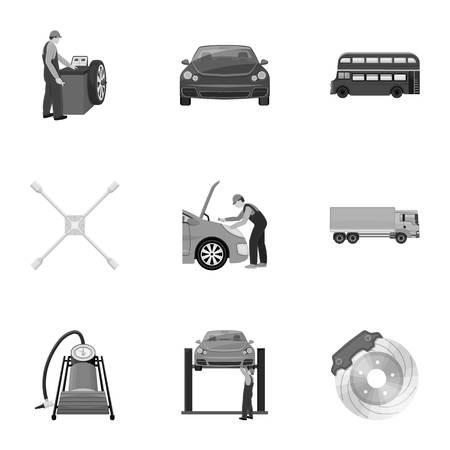 Voiture, ascenseur, pompe et autres icônes monochromes équipement dans la collection de jeu pour la conception. Station de maintenance de voiture vecteur symbole stock illustration web.